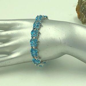 "Jewelry - Elegant Multishape Blue CZ Bracelet 7.5"" Long"
